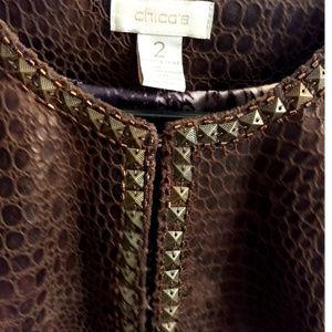 Chico's Jackets & Coats - Chico's Faux Leather Snakeskin Jacket Sz 16